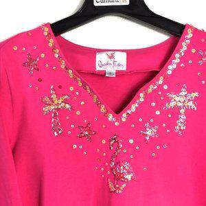 Quacker Factory Beaded Sequin Flamingo Pink Top L